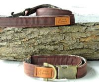 Brown Waxed cotton dog collar